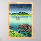 Cool oriental japanese scenery river side rain art poster