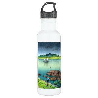Cool oriental japanese scenery river side rain art water bottle