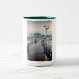 Cool oriental japanese shiro night rain shinobazu Two-Tone coffee mug
