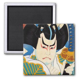 Cool oriental japanese Shunsen Kabuki actor art 2 Inch Square Magnet