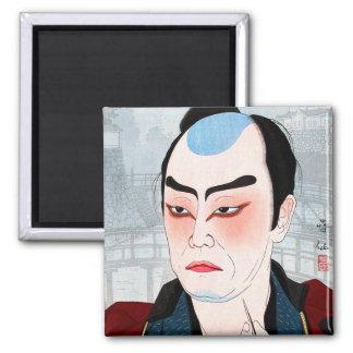 Cool oriental japanese Shunsen Natori Kabuki actor 2 Inch Square Magnet