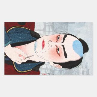 Cool oriental japanese Shunsen Natori Kabuki actor Rectangular Sticker