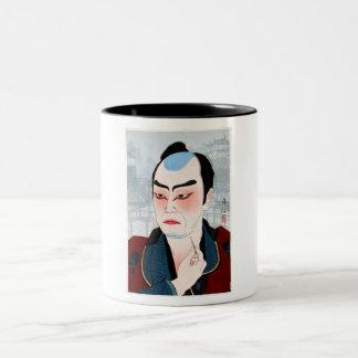 Cool oriental japanese Shunsen Natori Kabuki actor Two-Tone Coffee Mug