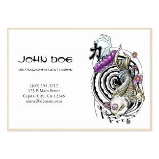 Cool oriental japanese silver ink lucky koi fish business cards