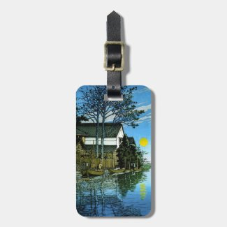 Cool oriental japanese sunrise village lake boats tags for bags