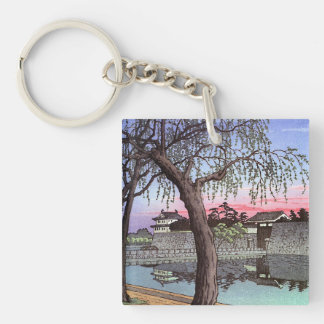 Cool oriental japanese sunset watercolour painting Double-Sided square acrylic keychain