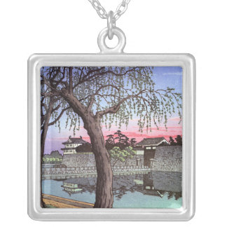 Cool oriental japanese sunset watercolour painting silver plated necklace