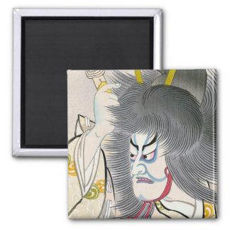 cool oriental japanese tadamasa kabuki samurai art 2 inch square magnet