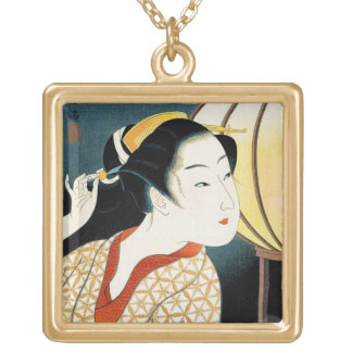 Cool oriental japanese Takane Koko geisha lady art Gold Plated Necklace