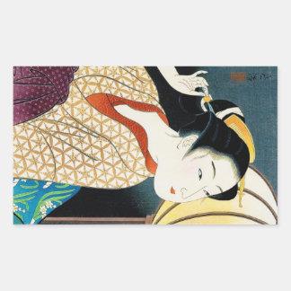 Cool oriental japanese Takane Koko geisha lady art Rectangular Sticker