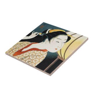 Cool oriental japanese Takane Koko geisha lady art Tile