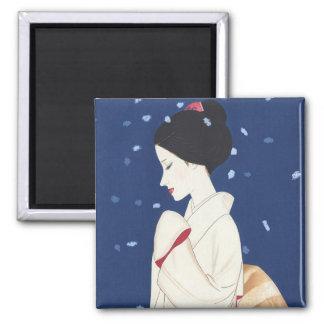 Cool oriental japanese tender geisha lady art magnet