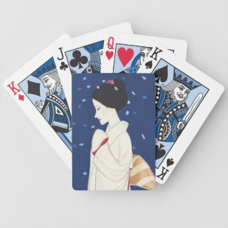 Cool oriental japanese tender geisha lady art bicycle card decks