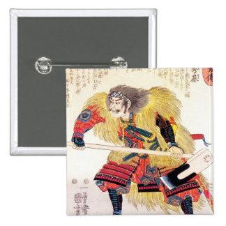 Cool oriental japanese traditional samurai warrior button