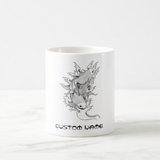 Cool Oriental Japanese Twin Koi Carp Fish tattoo Coffee Mug