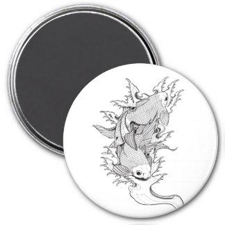 Cool Oriental Japanese Twin Koi Carp Fish tattoo 3 Inch Round Magnet