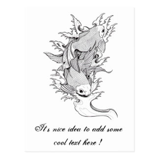 Cool Oriental Japanese Twin Koi Carp Fish tattoo Post Card