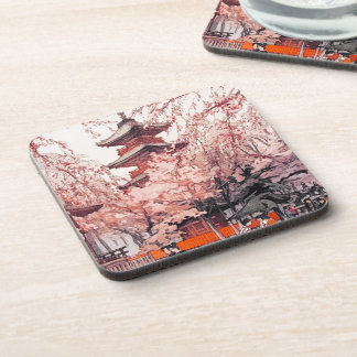 Cool oriental japanese Ueno Park watercolour art Beverage Coaster