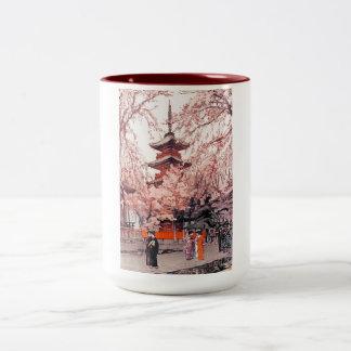 Cool oriental japanese Ueno Park watercolour art Two-Tone Coffee Mug