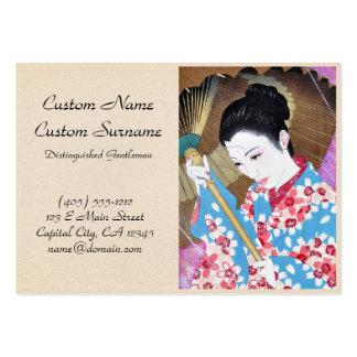 Cool oriental japanese vintage lady umbrella art business cards