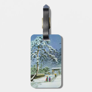 Cool oriental japanese watercolor Honmonji Temple Travel Bag Tags