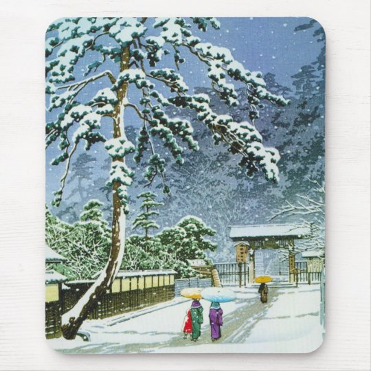 Cool oriental japanese watercolor Honmonji Temple Mouse Pad