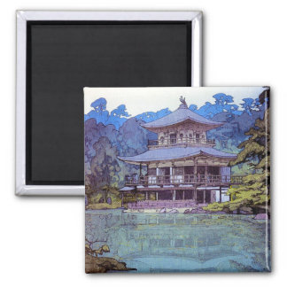 Cool oriental japanese watercolour temple painting 2 inch square magnet