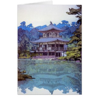 Cool oriental japanese watercolour temple painting card