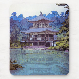 Cool oriental japanese watercolour temple painting mouse pad
