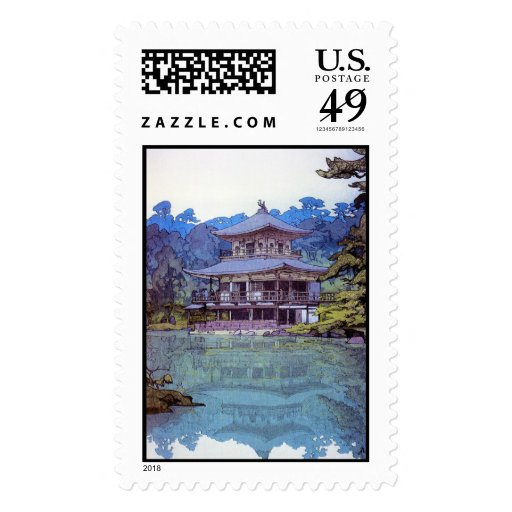 Cool oriental japanese watercolour temple painting stamps