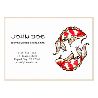 Cool oriental japanese white ink lucky koi fish business card template