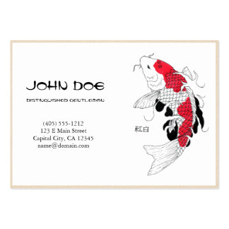 Cool oriental japanese white ink lucky koi fish business card templates