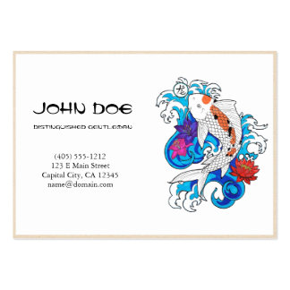 Cool oriental japanese white ink lucky koi fish business card