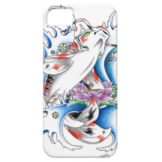 Cool oriental japanese white ink lucky koi iPhone SE/5/5s case