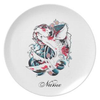 Cool Oriental Japanese White Koi Carp Fish tattoo Dinner Plate