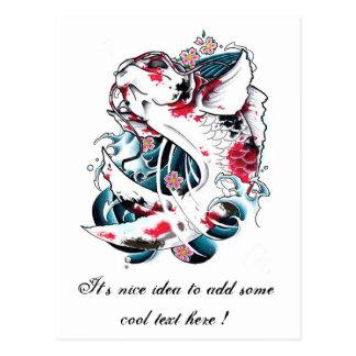 Cool Oriental Japanese White Koi Carp Fish tattoo Post Card