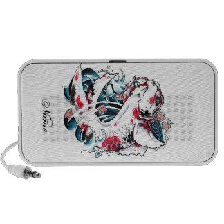 Cool Oriental Japanese White Koi Carp Fish tattoo iPod Speaker