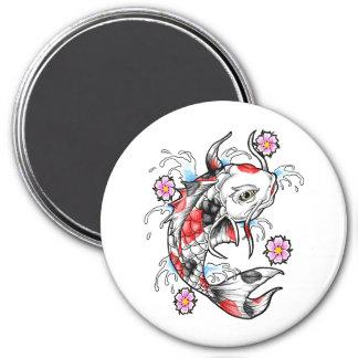 Cool Oriental Japanese White Koi Fish Carp tattoo 3 Inch Round Magnet