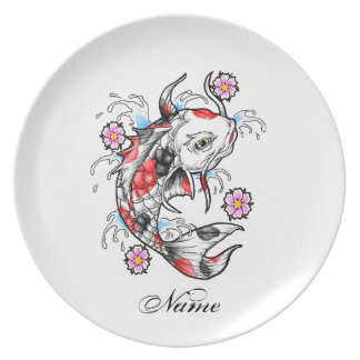 Cool Oriental Japanese White Koi Fish Carp tattoo Melamine Plate