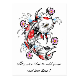 Cool Oriental Japanese White Koi Fish Carp tattoo Post Cards