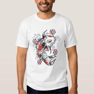 Cool Oriental Japanese White Koi Fish Carp tattoo T Shirt