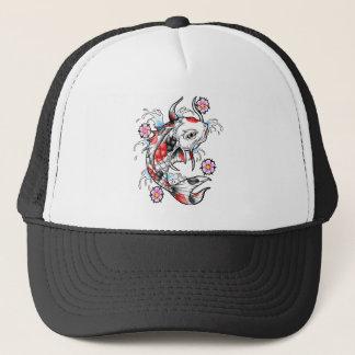 Cool Oriental Japanese White Koi Fish Carp tattoo Trucker Hat