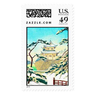 Cool oriental japanese winter castle sceneart postage