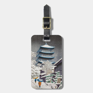 Cool oriental japanese winter shrine snow temple tags for luggage