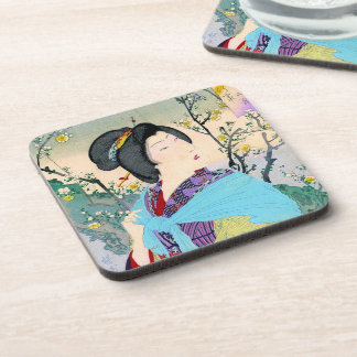 cool oriental japanese woodprint classic geisha coaster