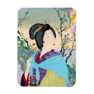 cool oriental japanese woodprint classic geisha magnet