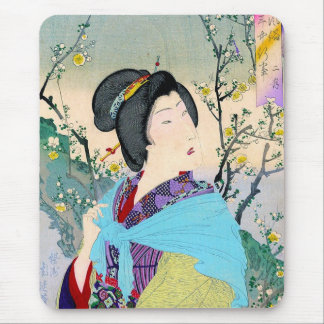 cool oriental japanese woodprint classic geisha mouse pad
