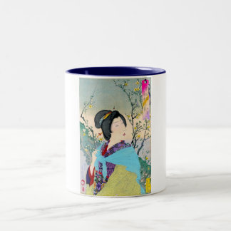 cool oriental japanese woodprint classic geisha Two-Tone coffee mug