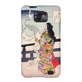 Cool oriental japanese woodprint geisha art samsung galaxy SII cases