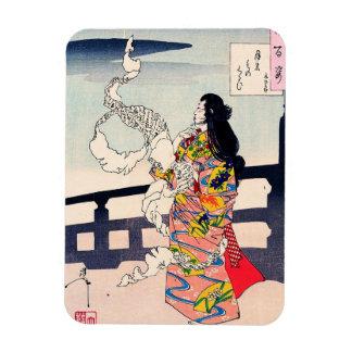 Cool oriental japanese woodprint geisha art magnet